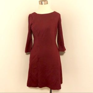 Vince Comuto Burgundy Career Rayon  A-Line Dress